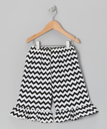 Black Zigzag Ruffle Pants - Infant, Toddler & Girls
