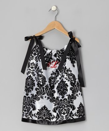 Black & White Damask Monogram Swing Dress - Infant, Toddler & Girls