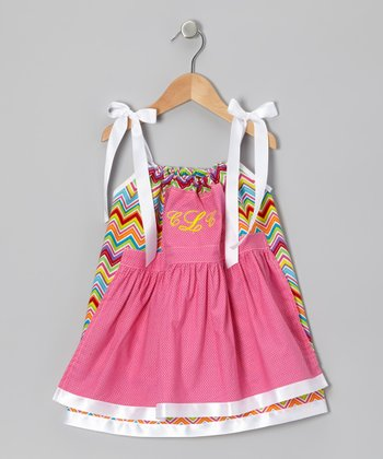 Rainbow Zigzag Monogram Pinafore Dress - Infant, Toddler & Girls