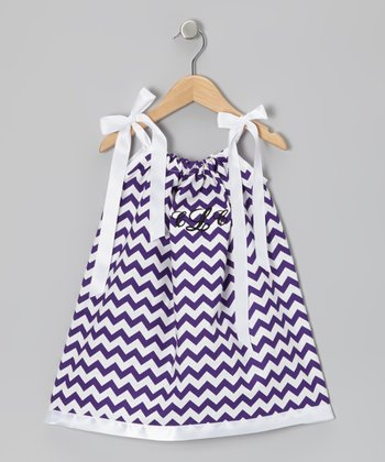 Purple Zigzag Monogram Swing Dress - Infant, Toddler & Girls