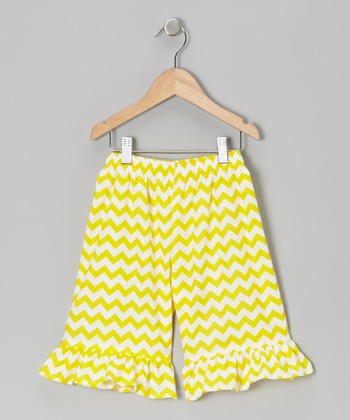 Yellow Zigzag Ruffle Pants - Infant, Toddler & Girls