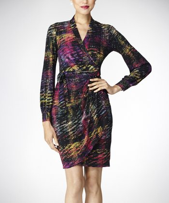 Black & Magenta Wrap Dress