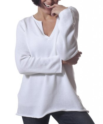Winter White Long-Sleeve V-Neck Sweater