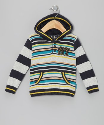 Ombré Blue Stripe Hooded Sweater - Infant