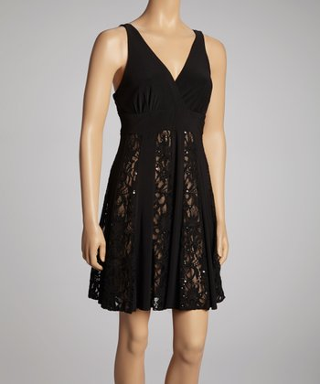 Black & Nude Lace Dress - Petite