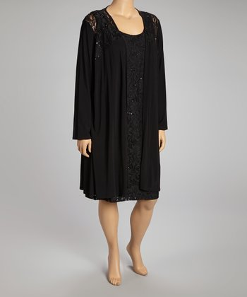 Black Lace Dress & Open Cardigan - Plus