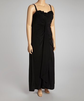 Black Ruched Maxi Dress - Plus