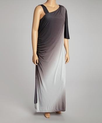 Black & Ivory Ombre Asymmetrical Maxi Dress - Plus