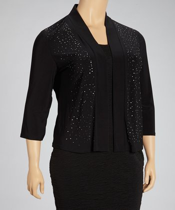 Black Beaded Open Cardigan - Plus