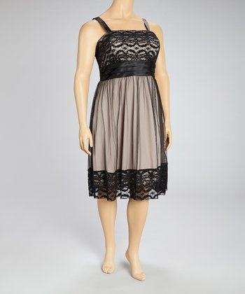 Black & Taupe Lace Empire Waist Dress - Plus