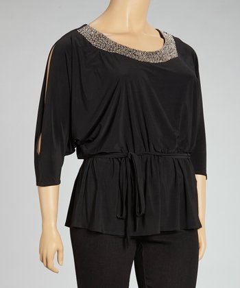 Black Beaded Tie-Waist Tunic - Plus