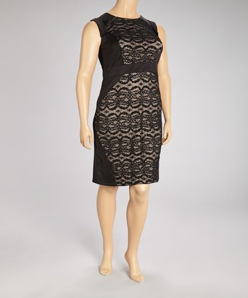 Black & Tan Lace Panel Shift Dress - Plus