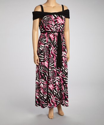 Black & Magenta Zebra Tie-Waist Dress - Plus