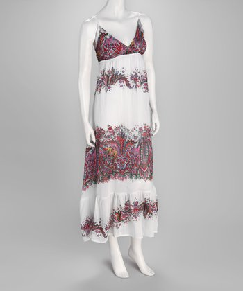 White Floral Paisley Maxi Dress - Women
