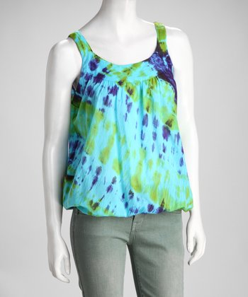 Green & Blue Tie-Dye Bubble Tank