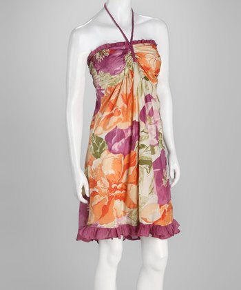 Orange & Purple Ruffle Halter Dress - Women