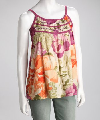 Orange & Purple Floral Tank - Women