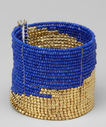 Blue &Gold Bead Cuff
