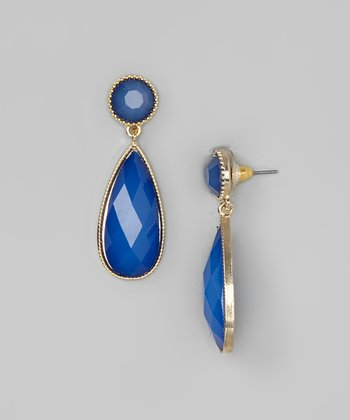 Blue Bead Teardrop Earring
