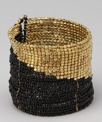 Black & Gold Bead Cuff