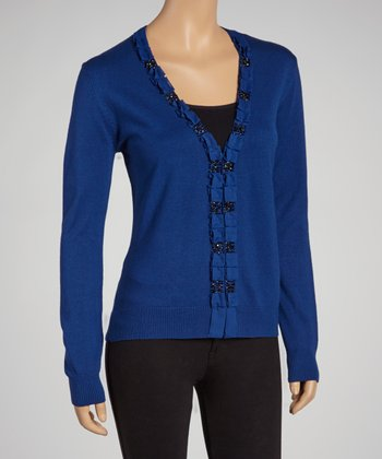 Royal Blue Embellished Cardigan - Women