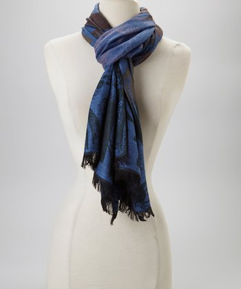 Blue & Brown Silk-Blend Scarf