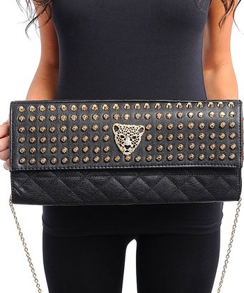 Black & Gold Stud Clutch