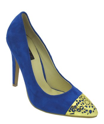 Royal Blue & Gold Goldie Pump