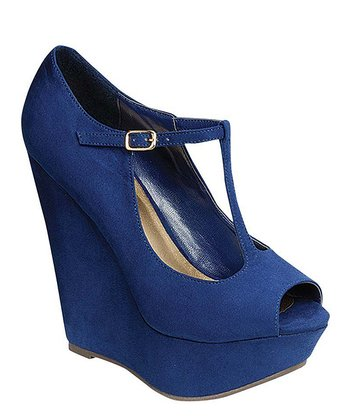 Navy T-Strap Wedge Pump