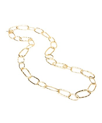 Gold Hammered Chain Link Necklace
