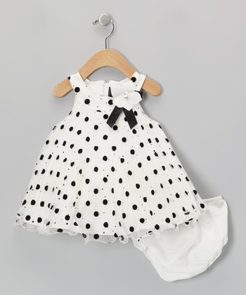 Ivory Polka Dot Yoke Dress - Girls