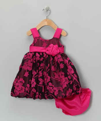 Fuchsia Floral Lace Rosette Dress & Diaper Cover - Infant