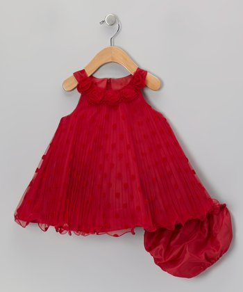 Red Polka Dot Yoke Dress - Girls