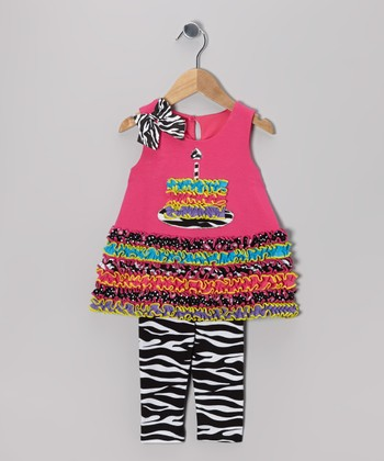 Fuchsia Cake Swing Dress & Leggings - Infant, Toddler & Girls
