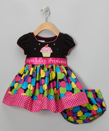 Black & Pink 'Birthday' Dress & Diaper Cover - Infant & Toddler