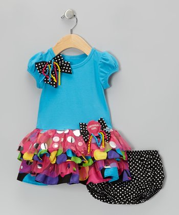 Turquoise Bow Dress & Diaper Cover - Infant, Toddler & Girls