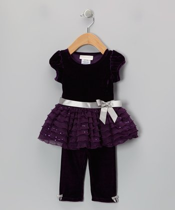 Purple Sequin Bow Dress & Leggings - Infant