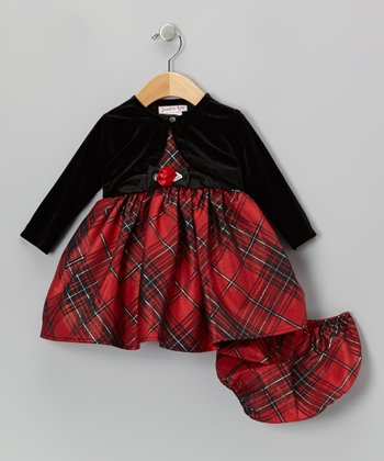 Red & Black Plaid Dress Set - Infant, Toddler and Girls