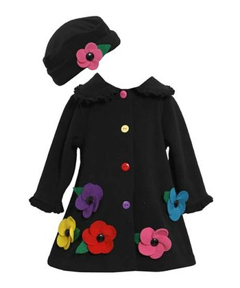 Black Flower Swing Coat & Beanie