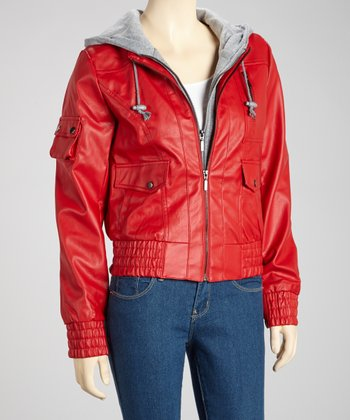Red Hooded Motorcycle Jacket