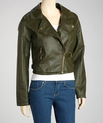Olive Zipper Motorcycle Jacket