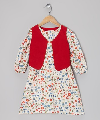 White Floral Dress & Red Vest - Toddler & Girls