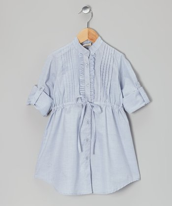 Light Blue Shirt Dress - Toddler & Girls