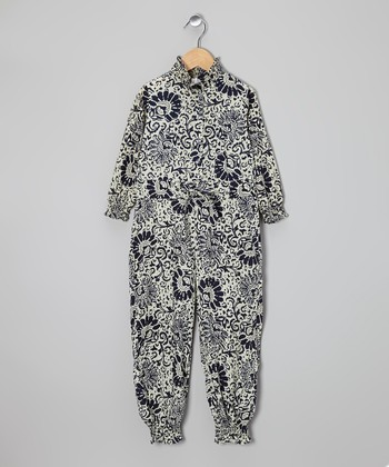 Black & White Damask Jumpsuit - Toddler & Girls