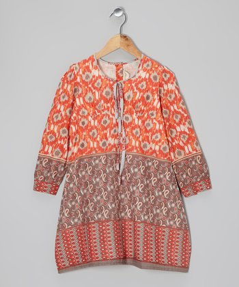 Orange Paisley Swing Dress - Toddler & Girls