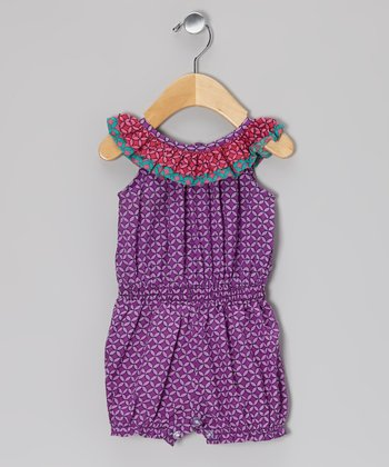 Purple Diamond Shirred Romper - Infant