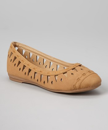 Anna Shoes Camel Cutout Vera Flat
