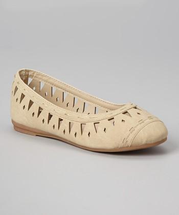 Anna Shoes Beige Cutout Vera Flat