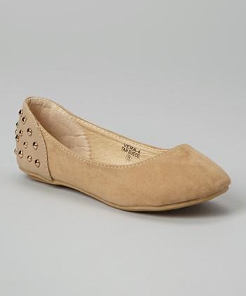 Anna Shoes Tan Studded Vera Flat