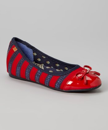 Red & Navy Stripe Alyssa Flat